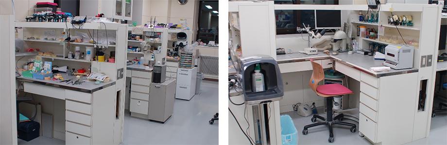 職員の技工机の写真2枚